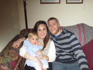 Our Christmas Picture--missing Mylo, sadly. Ollie is now 15 months.